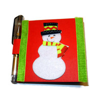 Christmas Snowmen Post It Note Holder and Mini Gel Pen