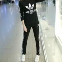 Adidas Autumn Clothes  Unisex Fashion Simple Stripe Cotton Sweater Print Pattern Two-Piece Suit Clothes