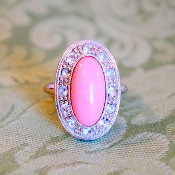 Vintage Avon Pink Lucite Ring With Rhinstones- Silvertone Pale Fire by Avon- Fun Cocktail Ring-Trendy '70's Costume Jewelry