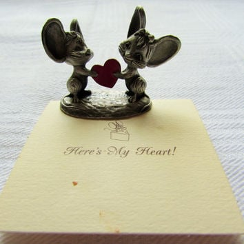 Vintage Pewter Mouse Figurine Here's My Heart