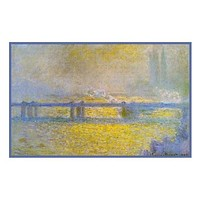 Charing Cross Bridge on an Overcast Day inspired by Claude Monet's impressionist painting Counted Cross Stitch or Counted Needlepoint Pattern