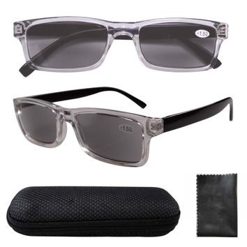 FR003 Clear Plastic Frame Black Arms Grey Tinted Readers Reading Glasses W/case