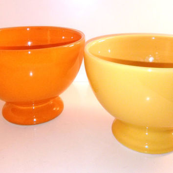 "Waechtersbach Bowls 5"" Footed All Purpose Bowls Orange Bowl and Yellow Bowl"