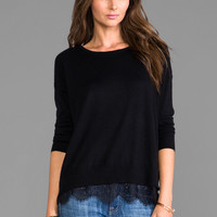 Joie Hilano Sweater with Lace Trim in Caviar