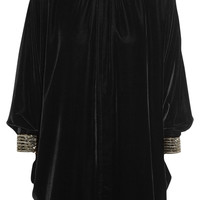 Saint Laurent - Beaded velvet mini dress