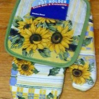 2-pc Kitchen Set Pot Holders Oven Mitt Sunflower