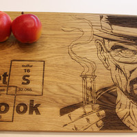 Breaking Bad Cutting Board, Heisenberg, Let's Cook, Walter White, Chopping Board, Gift, Christmas Gift, Laser Engraved, Kitchen Decor, Oak