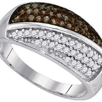 Cognac Diamond Fashion Band in 10k White Gold 0.5 ctw