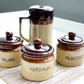 Vintage 1970s Condiment Jars Set / Condiment Decanter Set / Relish Mustard Ketchup Cheese Decanter / Retro Kitchen