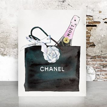 Wall Art Chanel Bag Print Poster - Pop Art, Fashion, Shoes French, Vintage, Art Deco 645