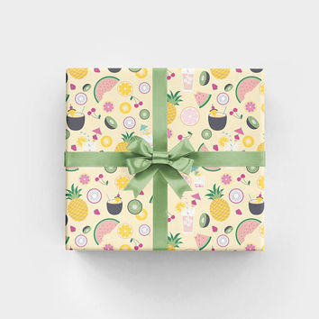 Tropical Drinks Summer Wrapping Paper - 3 Flat Sheets by Revel & Co. WS1119