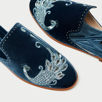 EMBROIDERED VELVET SLIDE LOAFERS
