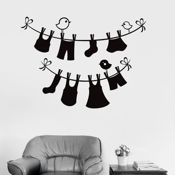 Vinyl Wall Decal Laundry Service Room Wash Things Stickers Unique Gift (ig3918)