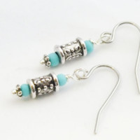 Small Ornate Turquoise Czech Surgical Steel Earrings