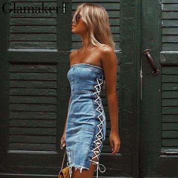 Glamaker Lace up strapless sexy denim dress Elegant short mini dress Women blue jeans bodycon party christmas dress vestidos