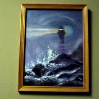 Painting  Oil on Canvas board Varnished. Lighthouse in the storm on the rocky shore at night.