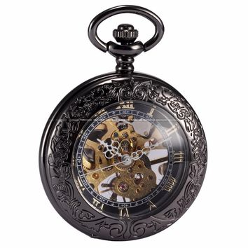 Steampunk Skeleton Transparent Mechanical Copper Open FacePendant Pocket Watch