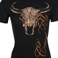 Cowgirl Up Women's Short Sleeve Steerhead Burn-Out T-Shirt