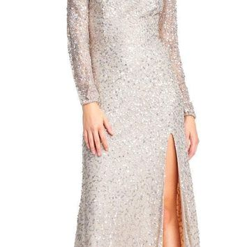 Adrianna Papell - AP1E202444 Sequined Cold Shoulder Long Sleeve Gown