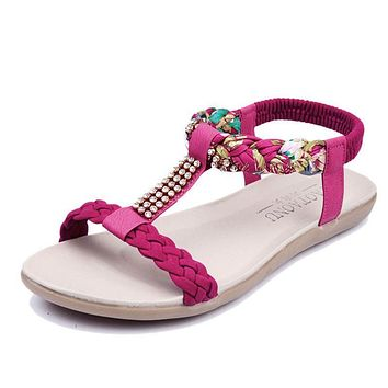 Women's Sandals Women's Summer Shoes Woman Footwear Crystal Soft Leather Beach shoes Sandalias Mujer