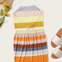 Colorful Stripe Print Halter Top With Skirt