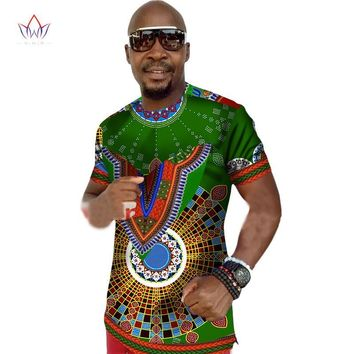 Mens Clothing Short Sleeve Brand Dashiki  Print Cotton Casual Shirts big sizes