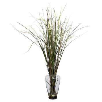 Silk Flowers -Grass And Bamboo With Large Jar Artificial Plant