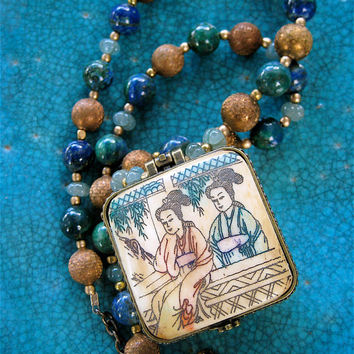 intage Asian Trinket Box Necklace Hand Carved Ox Bone with Blue Green Azurite and Vintage Brass Asian Jewelry