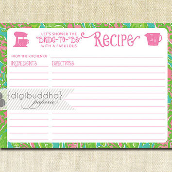 Lilly Pulitzer Inspired Recipe Card INSTANT DOWNLOAD PInk Green Bridal Shower 5x7 DIY Preppy Printable or Printed Fill-In Recipe Retro - Kim