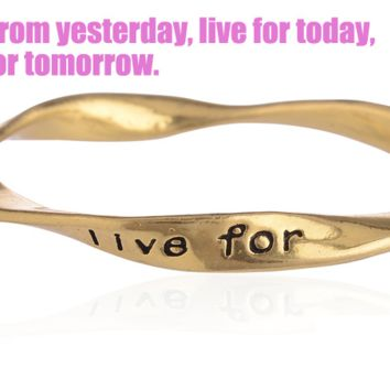 Fashion personality equilibrium bangle, the lettering bracelet (Learn from yesterday,live for today,hope for tomorrow.),a perfect gift !