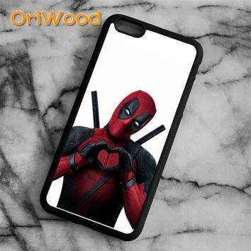 OriWood Deadpool Superhero marvel anime  Case cover For iPhone 6 6S 7 8 Plus X 5 5S SE Samsung galaxy S6 S7 edge S8 Plus Note 8