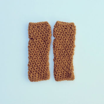 Fingerless Gloves Mustard Rust Crochet Gloves Women's Ladies