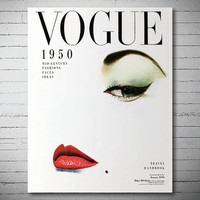 Vogue Cover January 1950 - Vogue Cover Poster - Poster Paper, Sticker or Canvas