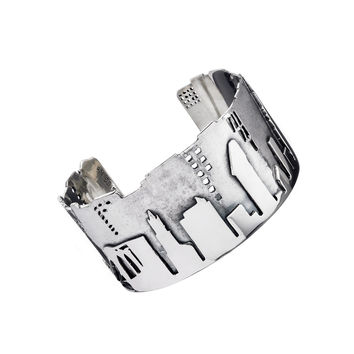 NYC Skyline The City That Never Sleeps Sterling Silver Bracelet Cuff