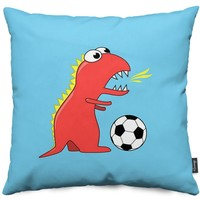 Blue Cartoon Dinosaur Playing Soccer Throw Pillows by Boriana Giormova | Nuvango
