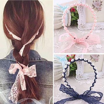 2017 Women Headbands Lace Hair Accessories Summer Style Imitated Pearl Scrunchy Hair Bows Elastic Hair Bands Flower Hairbands