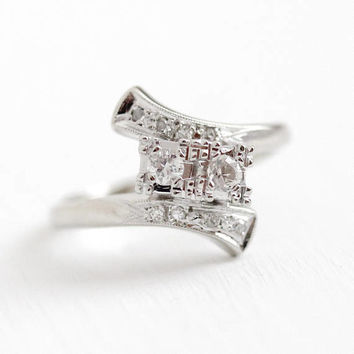Vintage Diamond Ring - 14k White Gold Genuine Old Mine & Brilliant Cut Diamond Bypass - Retro 1950s Size 5 3/4 Illusion Head Fine Jewelry