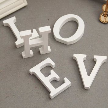 Home Decor 8cm Wooden White Letters Table Ornaments Decoration Crafts Thick Wood Alphabet Name Wall Art Improvement Souvenir