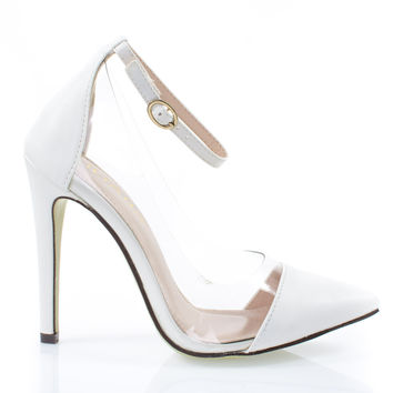 &Olga1E White Pu By Liliana, Women Clear Lucite Pump, Pointed Toe Ankle Strap, See Through Vamp