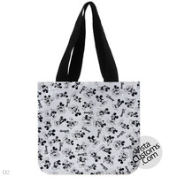 mickey mouse disney black and white pattern collage, handmade bag, canvas bag, tote bag