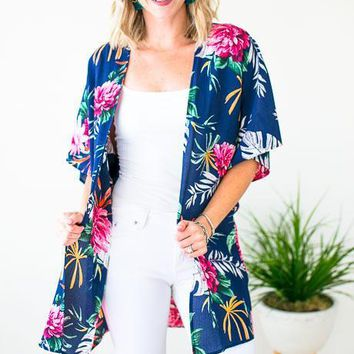Some Tropic Time Short Sleeve Kimono