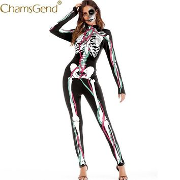 Cool Free Shipping Jumpsuits Halloween Cosplay Costume Skeleton Human Body Print Jumpsuit Women Skinny Bodysuit Rompers 80814AT_93_12