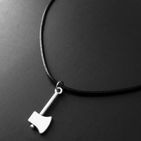 Axe Choker, 90s Jewelry, Axe Necklace, Creepy Necklace, Silver Charm, Halloween Jewelry, Grunge Jewelry, Tumblr Jewelry, Gothic Jewelry