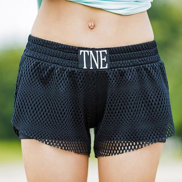 JLZLSHONGLE Hot New Mesh Sporting Shorts For Women Active Runs Fitness Dancing Workout Gyms Fake Two Pieces Sexy Black Shorts