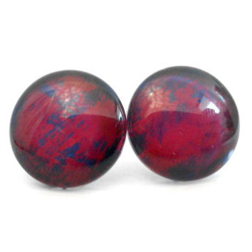 Hot Pink and Midnight Blue Crackle Effect Round Glass Cabochon Stud Earrings