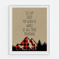 Let Him Sleep For When He Wakes He Will Move Mountains, Red Buffalo Plaid, Mountain Art, Rustic Nursery Art, Nursery Wall Art