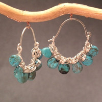 Hammered Hoops with Turquoise Siren 175