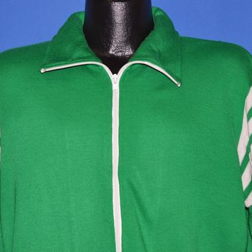 80s Green And White Striped Zipper Track Jacket Medium