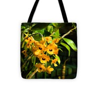 """Tropical Impressions - Bright Yellow Orchid Smileys Tote Bag for Sale by Georgia Mizuleva - 13"""" x 13"""""""