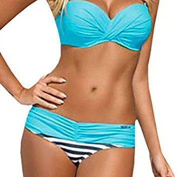Happy Sailed Women Push up Two Piece Bikini Swimsuits Bandeau Bathing Suits
